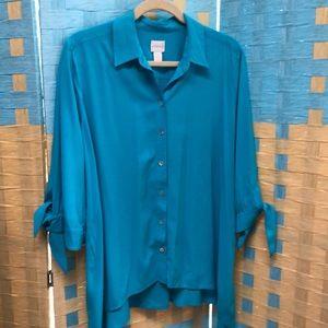 Chico's 2P blue tunic blouse (size 12-14)